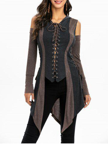 Cold Shoulder Lace-up Hooded High Low Contrast Coat