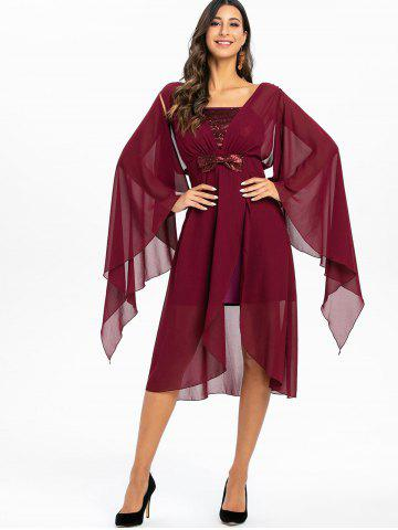 Butterfly Sleeve Sequins Party Dress