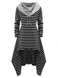 Plus Size Striped High Low Front Pocket Hoodie -