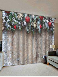 Christmas Star Wooden Pattern Window Curtains -