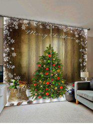 Merry Christmas Tree Gift Wooden Pattern Window Curtains -