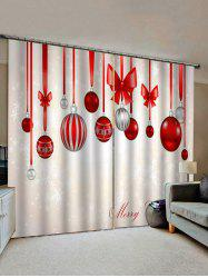 Merry Christmas Ball Pattern Window Curtains -