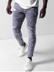 Ripped Zipper Decoration Bleached Jeans -