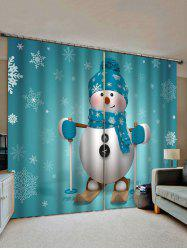 Christmas Snowflake Snowman Pattern Window Curtains -