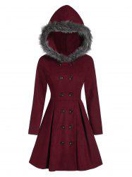 Manteau à Capuche Fourré à Double Boutonnage - Rouge Vineux XL