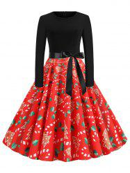 Christmas Print Belted Midi Vintage Dress -