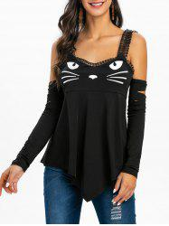 Cold Shoulder Ripped Cat Print Graphic T Shirt -