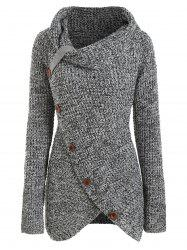 Pullover Buttoned Cowl Neck Overlap Plus Size Sweater -
