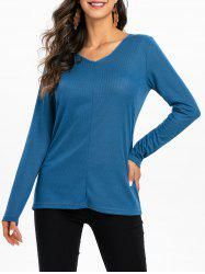 V Neck Solid Color Longline Top -