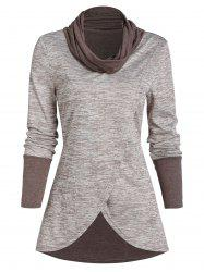 Space Dye Print Cowl Neck Overlap T-shirt -
