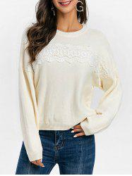 Guipure Panel Drop Shoulder Pullover Sweater -