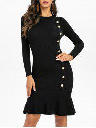 Knitted Mock Button Mermaid Dress -