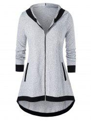 Plus Size Tunic Hooded Two Tone Coat -
