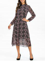 Printed Long Sleeves Stand Neck Mid Calf Dress -
