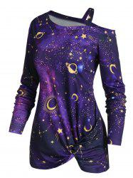 Skew Neck Halloween Star Moon Printed Asymmetric Sweatshirt -