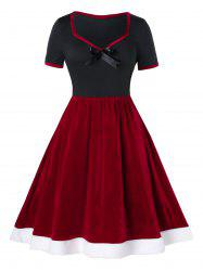 Plus Size Colorblock Vintage Velvet Dress Up Pin - Rouge Cerise 5X
