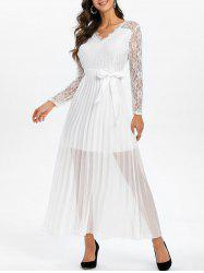 Floral Lace Panel Pleated Belted Maxi Dress -