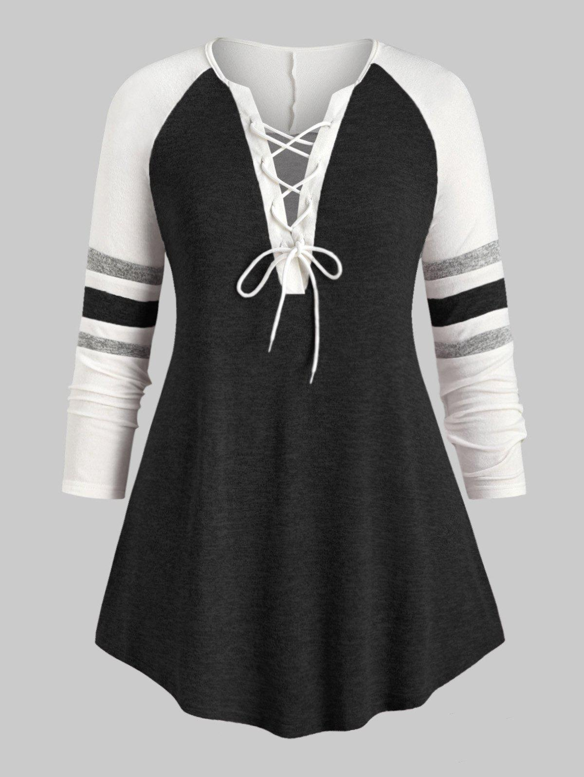 Sale Plus Size Lace Up Heathered Striped V Neck Tee