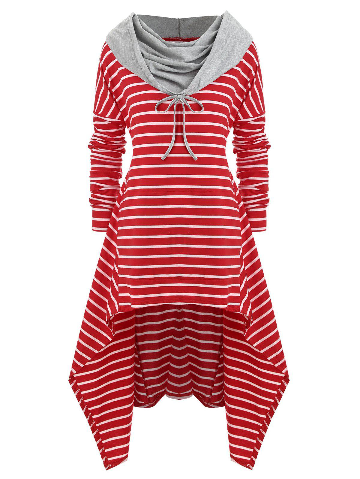 Cheap Plus Size Striped High Low Front Pocket Hoodie