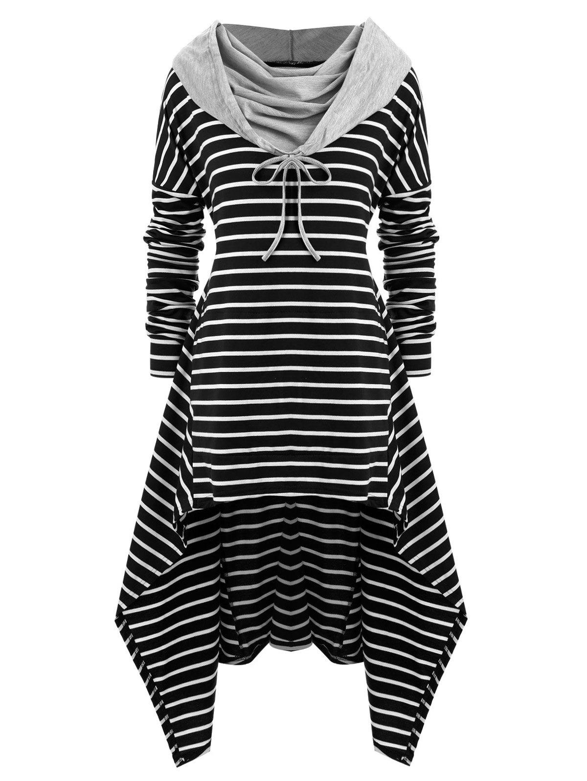 Chic Plus Size Striped High Low Front Pocket Hoodie