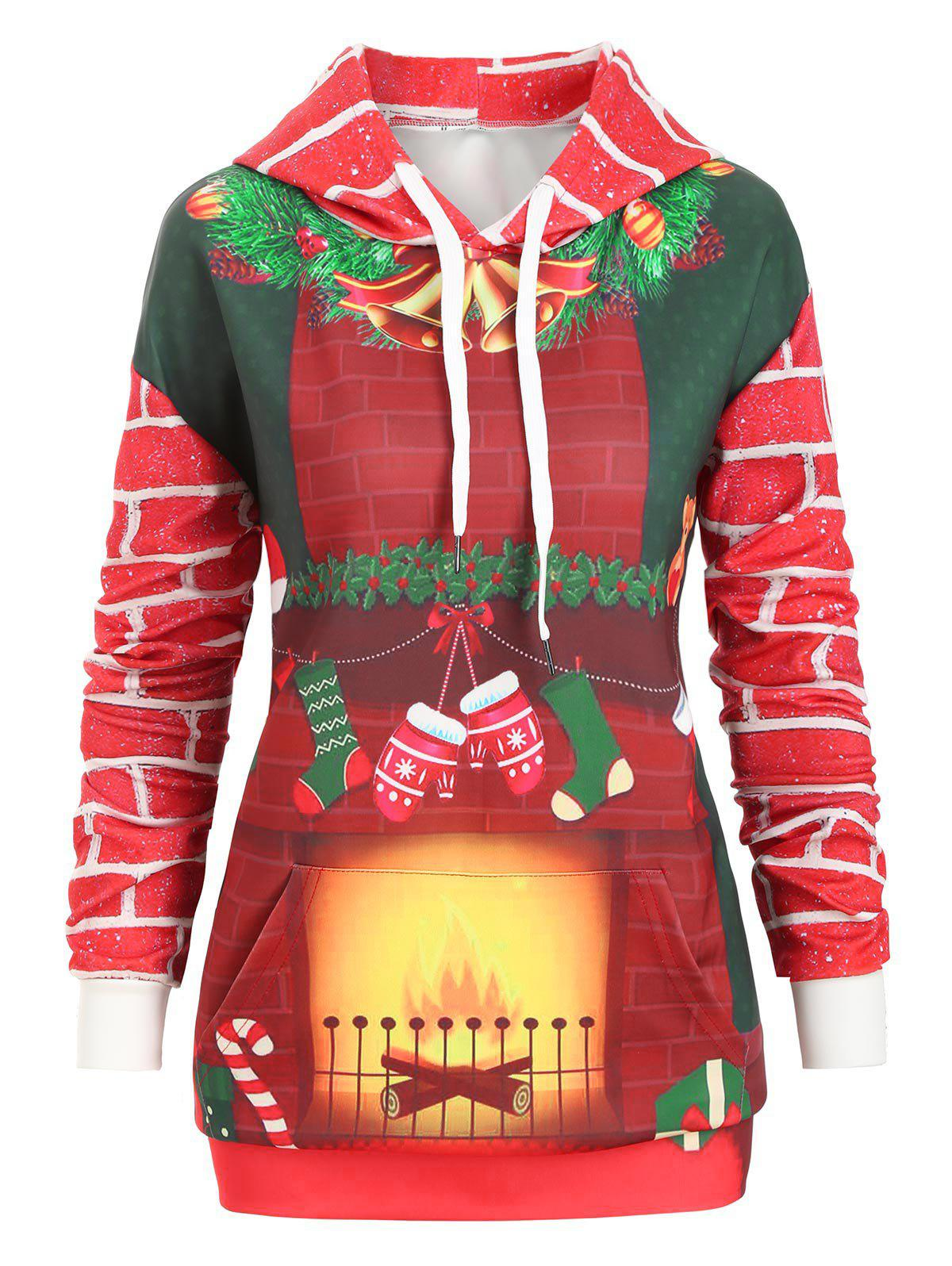Latest Christmas Kangaroo Pocket Printed Pullover Hoodie