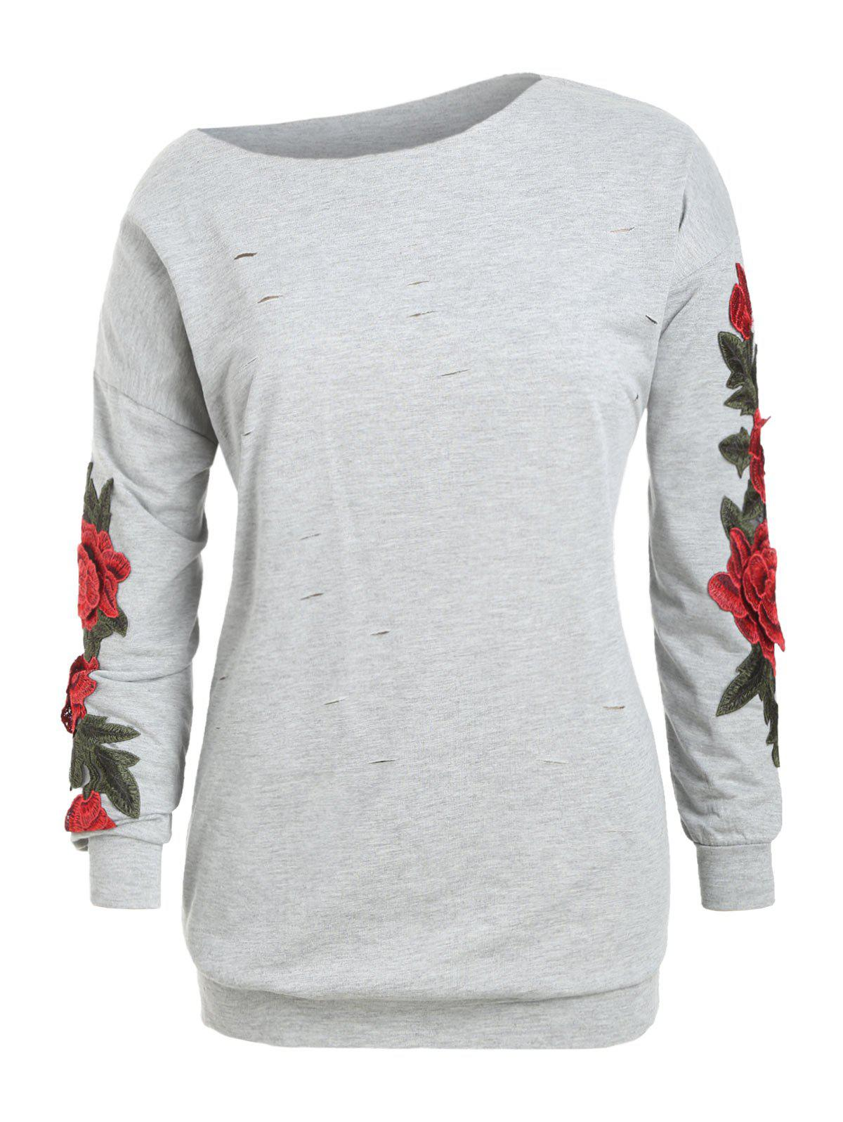 Fancy Plus Size Ripped Skew Neck Applique Sweatshirt