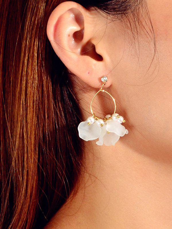 Hot Floral Faux Pearl Circle Drop Earrings