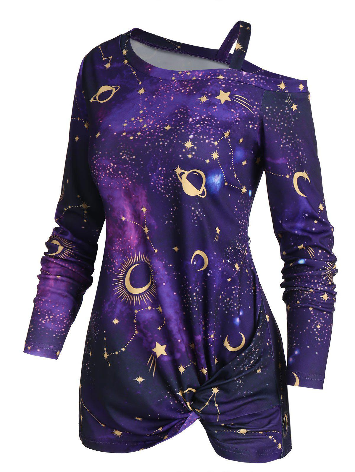 Chic Skew Neck Halloween Star Moon Printed Asymmetric Sweatshirt