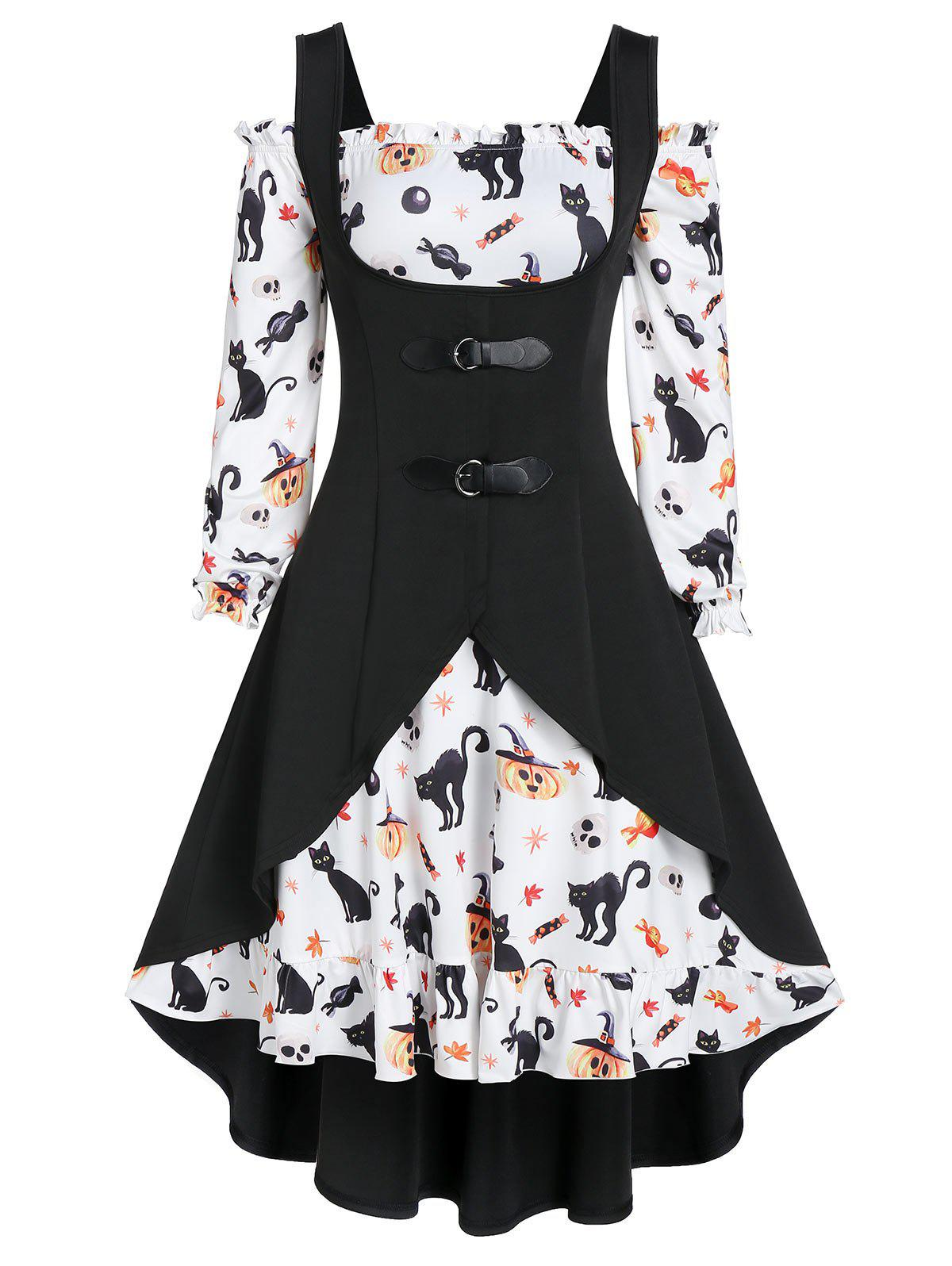 Chic Off The Shoulder Cat Skull Print Halloween Dress with Top
