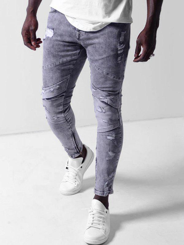 Unique Ripped Zipper Decoration Bleached Jeans