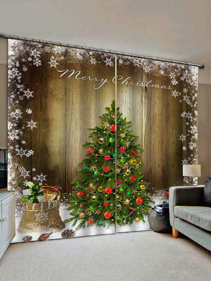 Best Merry Christmas Tree Gift Wooden Pattern Window Curtains