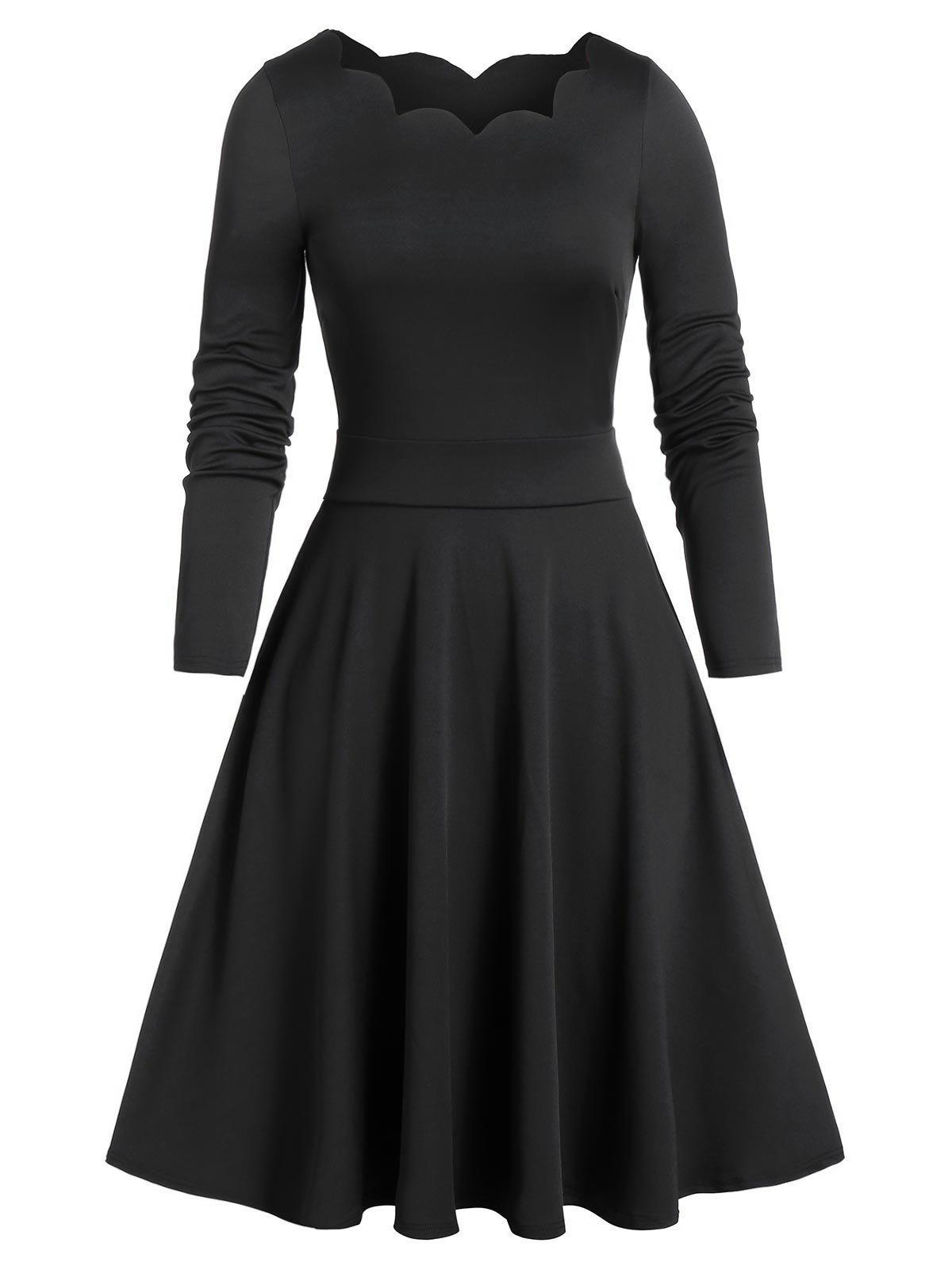 Store Scalloped Long Sleeve Vintage Flare Dress