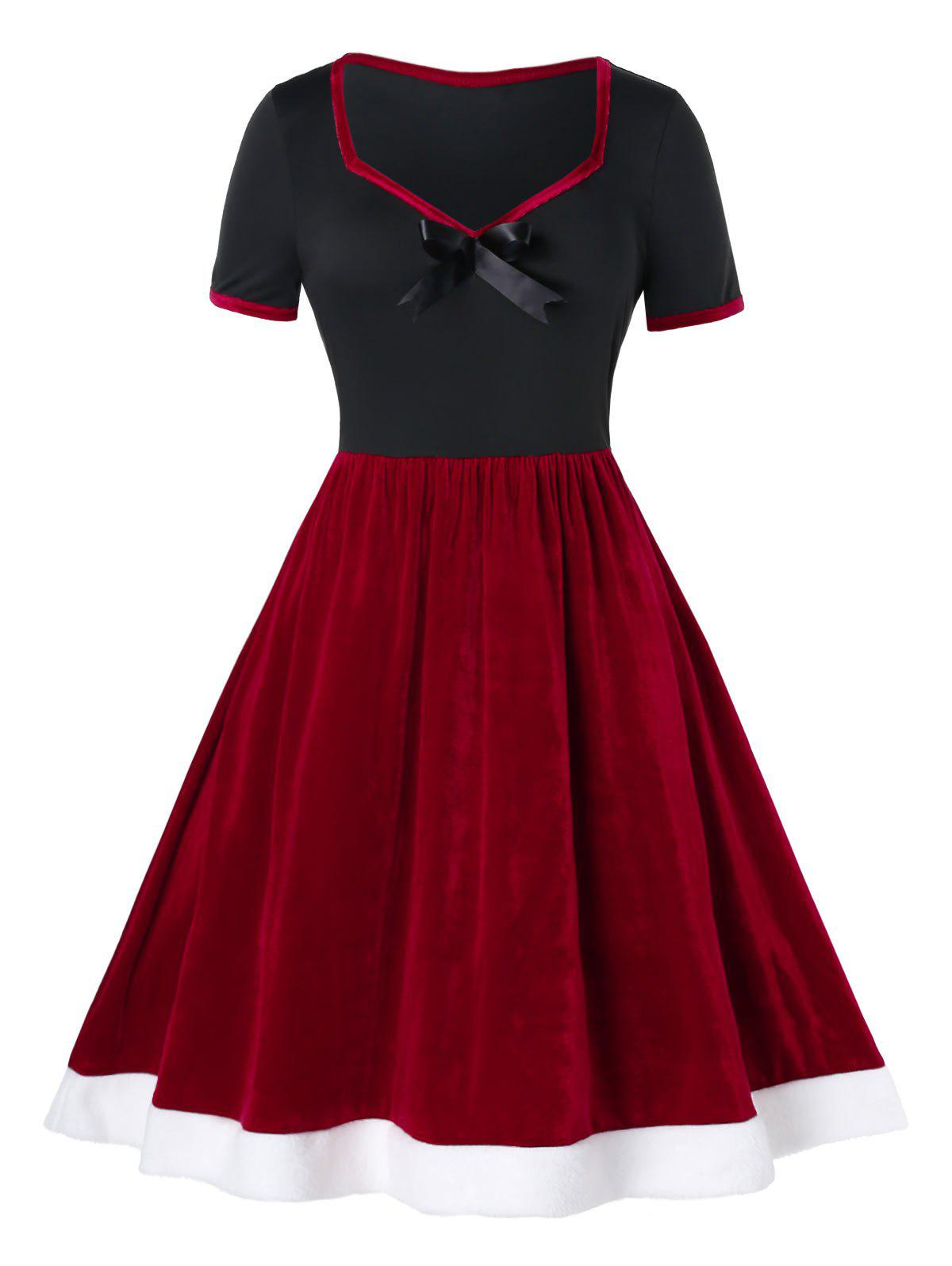 Plus Size Colorblock Vintage Velvet Dress Up Pin Rouge Cerise 5X