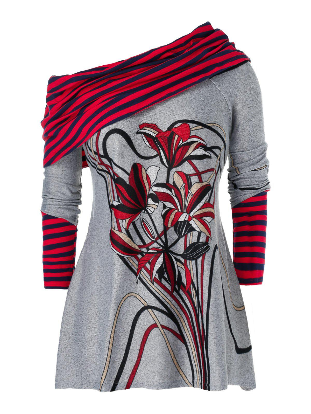 Plus Size Striped Lily Print Skew Neck Knitwear Rosegal