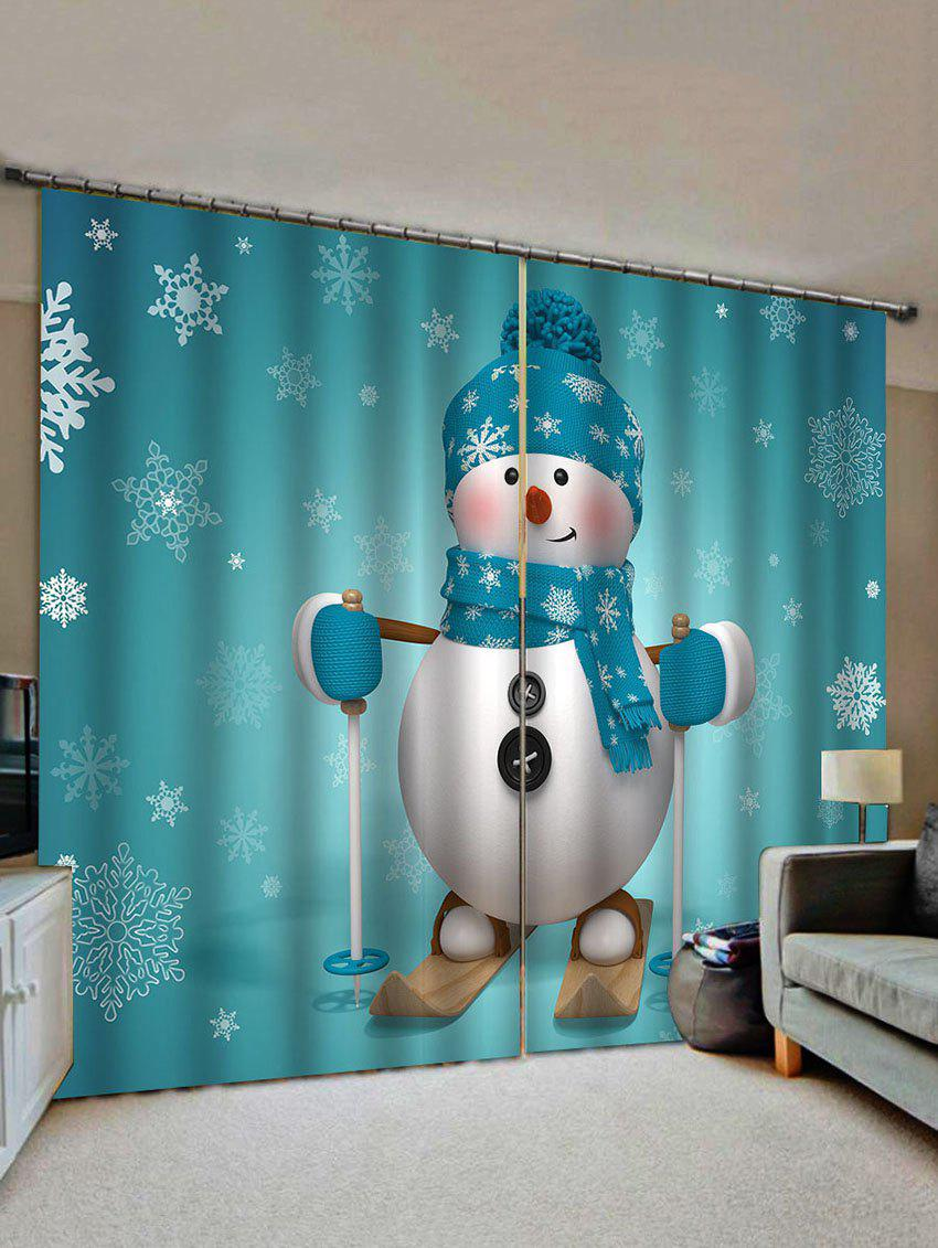 Fashion Christmas Snowflake Snowman Pattern Window Curtains