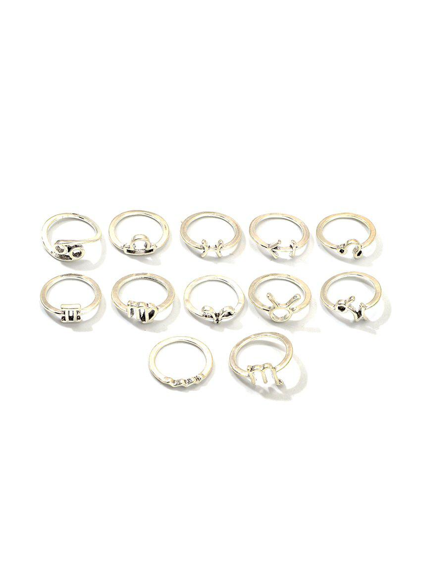 Fashion 12Pcs Brief Star Horoscope Rings Set