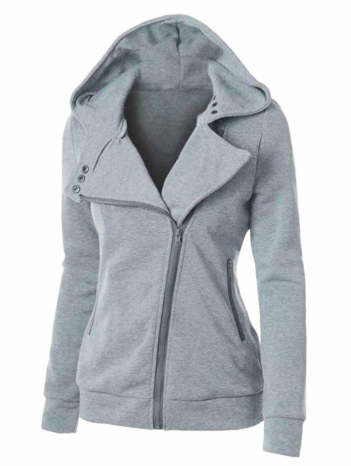 Fashion Plus Size Marled Zippered Pocket Hooded Jacket