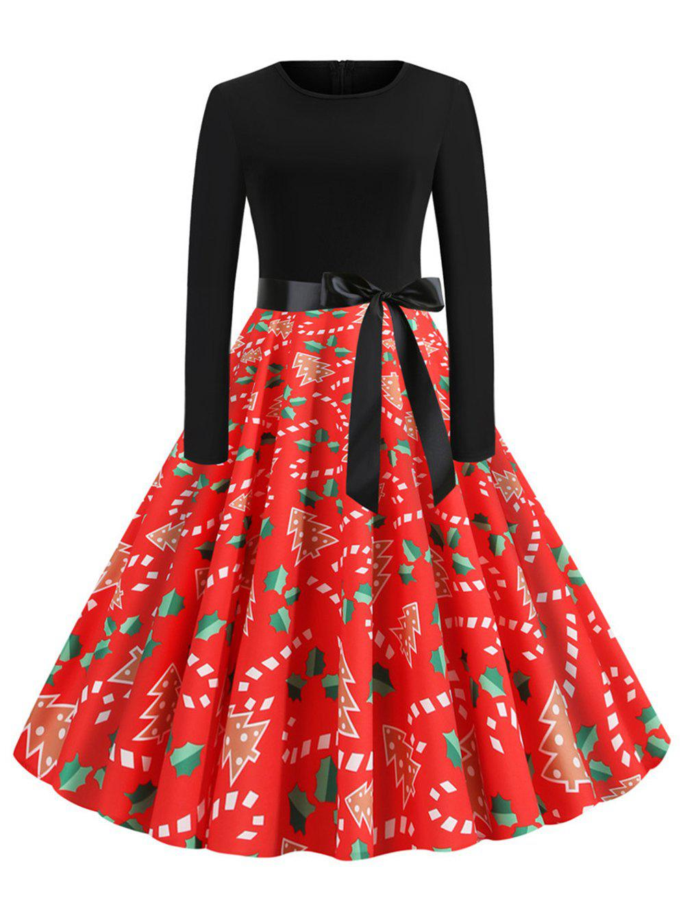 Best Christmas Print Belted Midi Vintage Dress