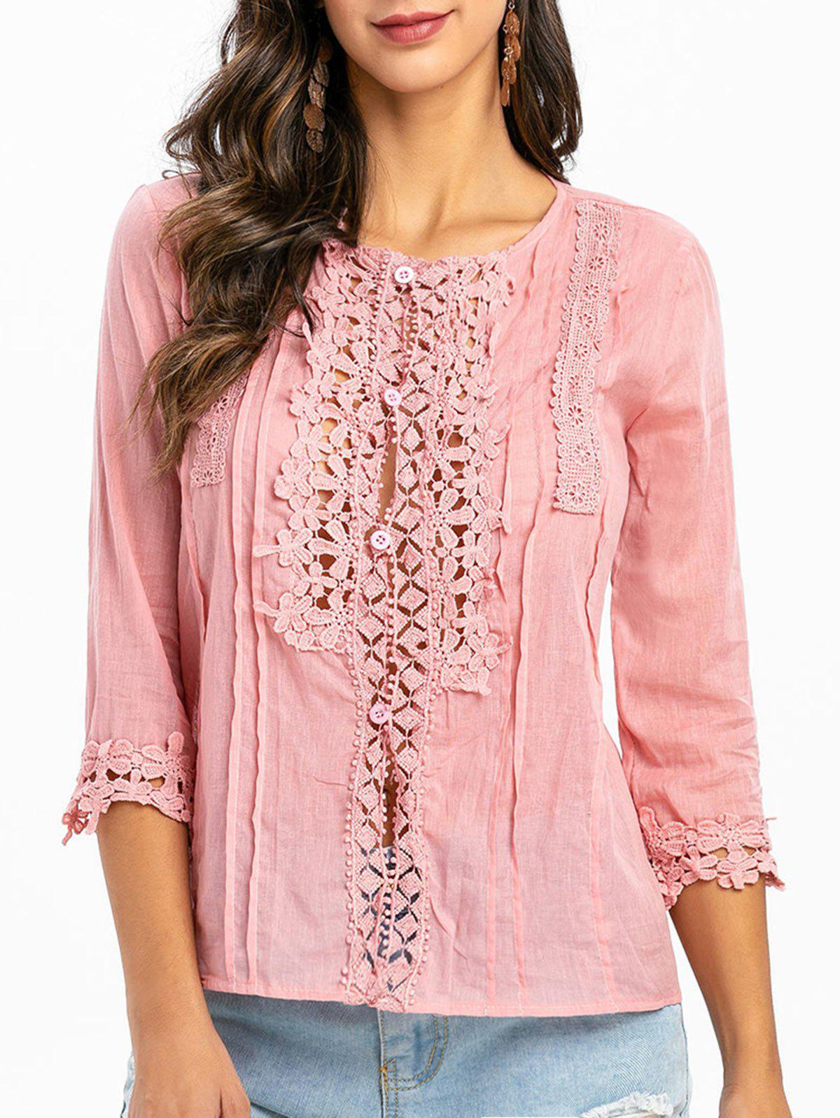Affordable Lace Panel Loop Button Three Quarter Sleeve Blouse