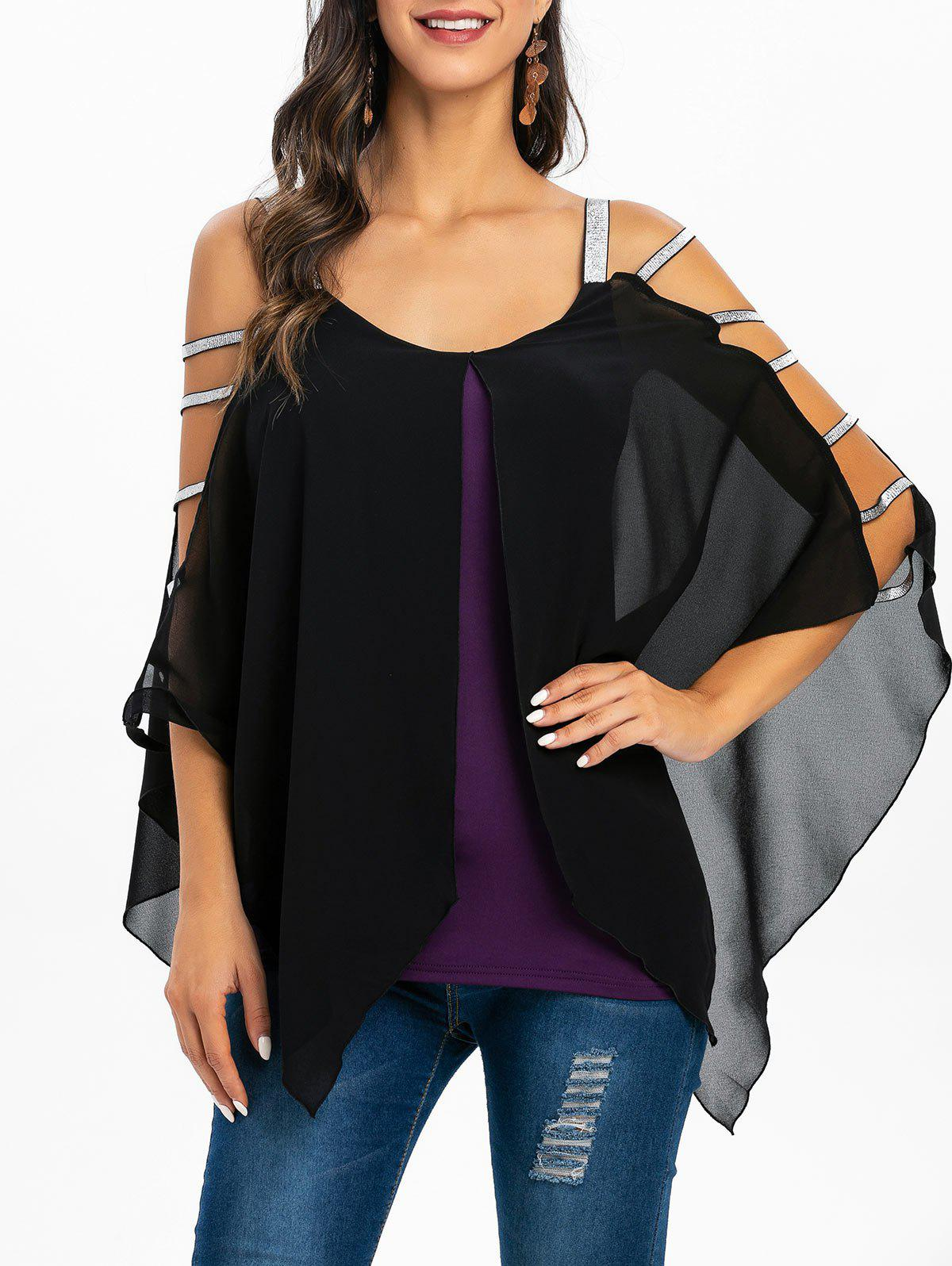 New Layered Sweetheart Neck Asymmetric T Shirt
