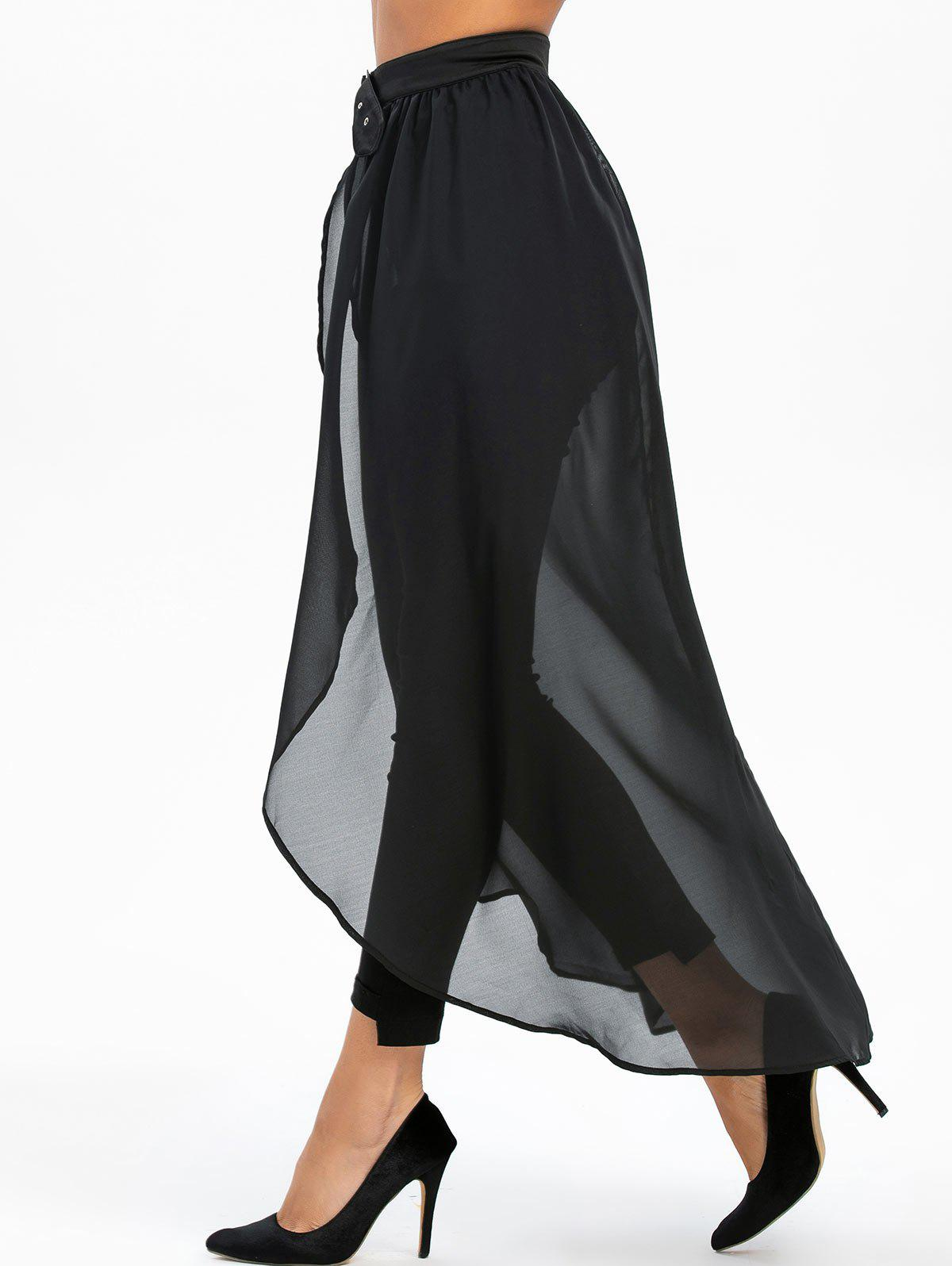 Sale Buckle Strap High Slit High Low See Through Chiffon Skirt
