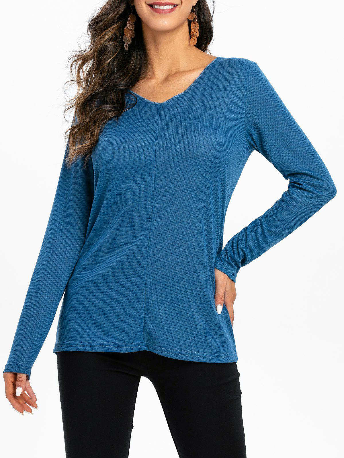 Fancy V Neck Solid Color Longline Top