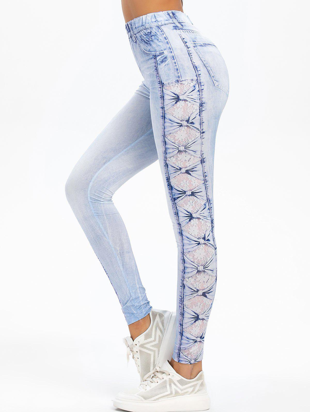 Discount High Rise 3D Lace Bowknot Print Faded Jeggings