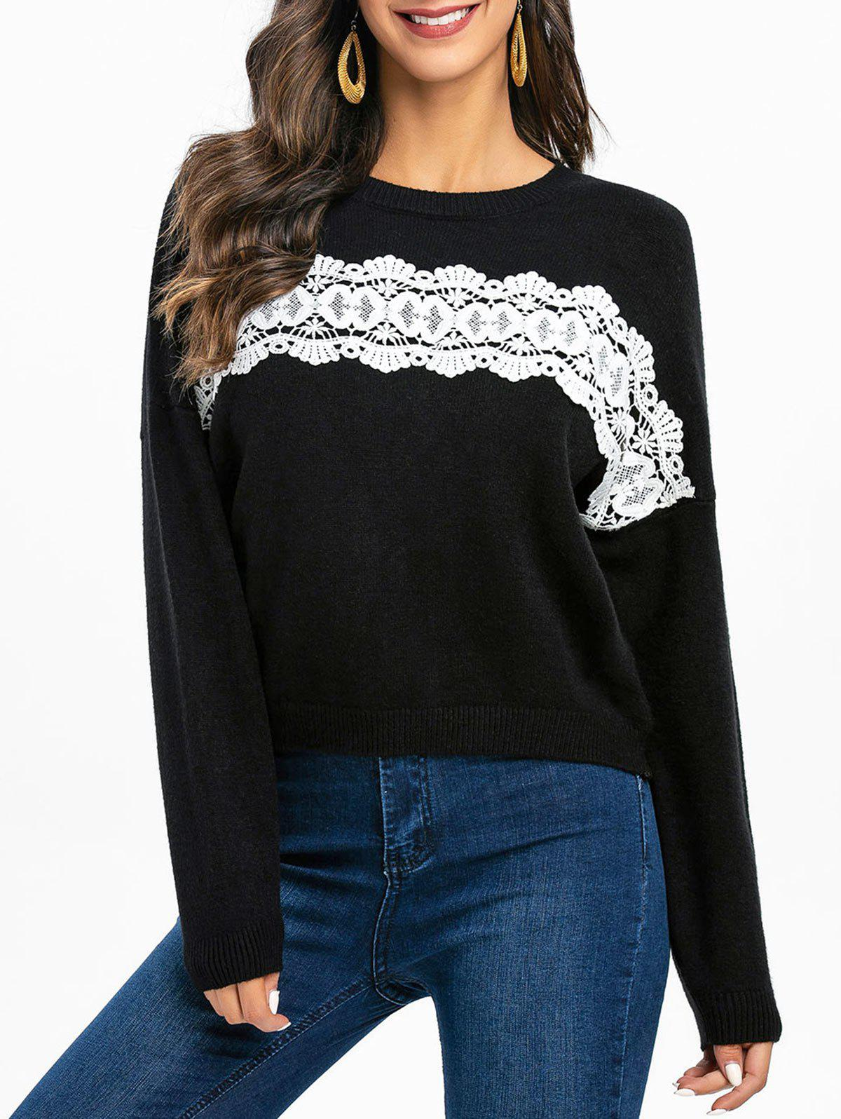 Fashion Guipure Panel Drop Shoulder Pullover Sweater