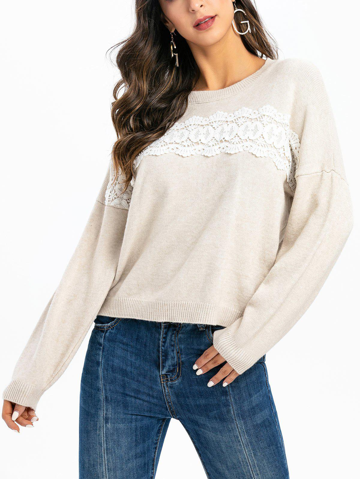 Latest Guipure Panel Drop Shoulder Pullover Sweater