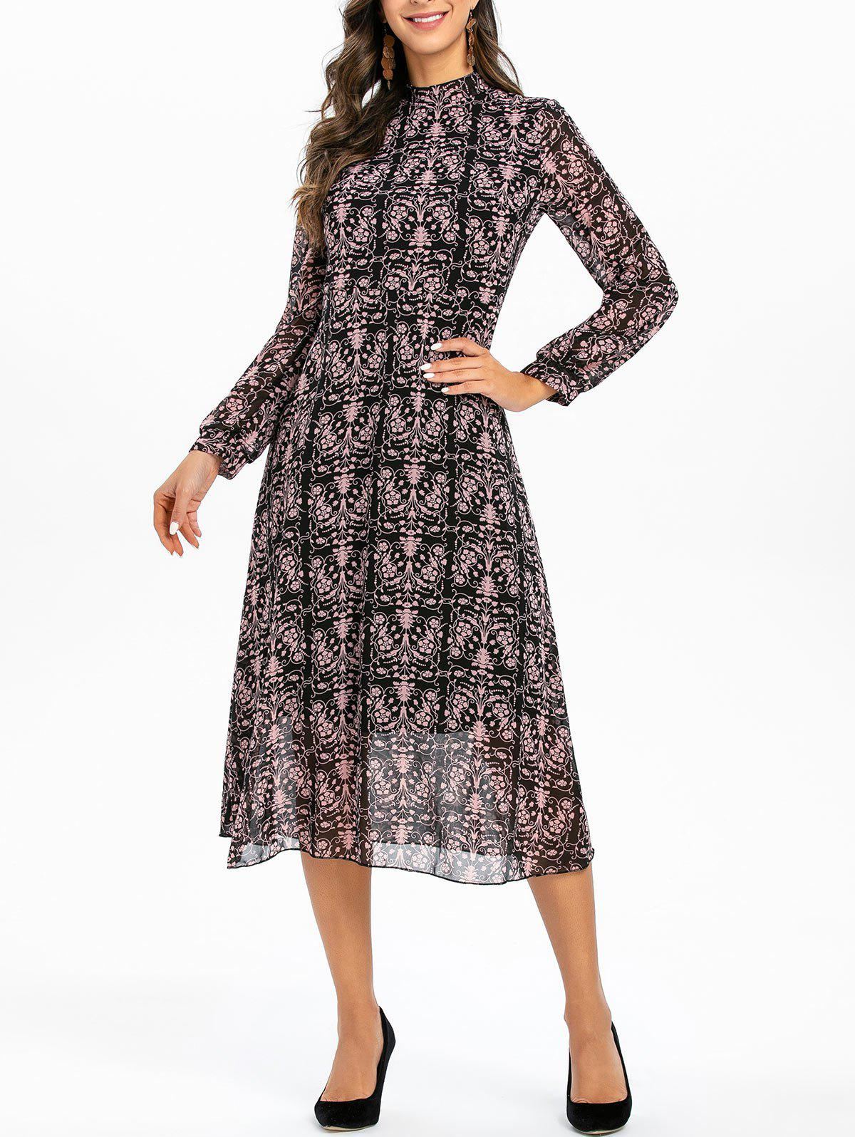 Affordable Printed Long Sleeves Stand Neck Mid Calf Dress