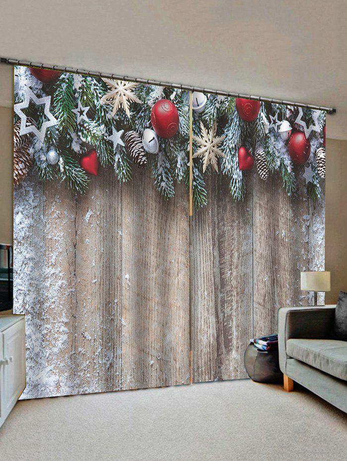 New Christmas Star Wooden Pattern Window Curtains