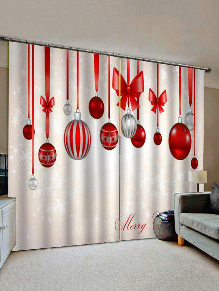 Hot Merry Christmas Ball Pattern Window Curtains