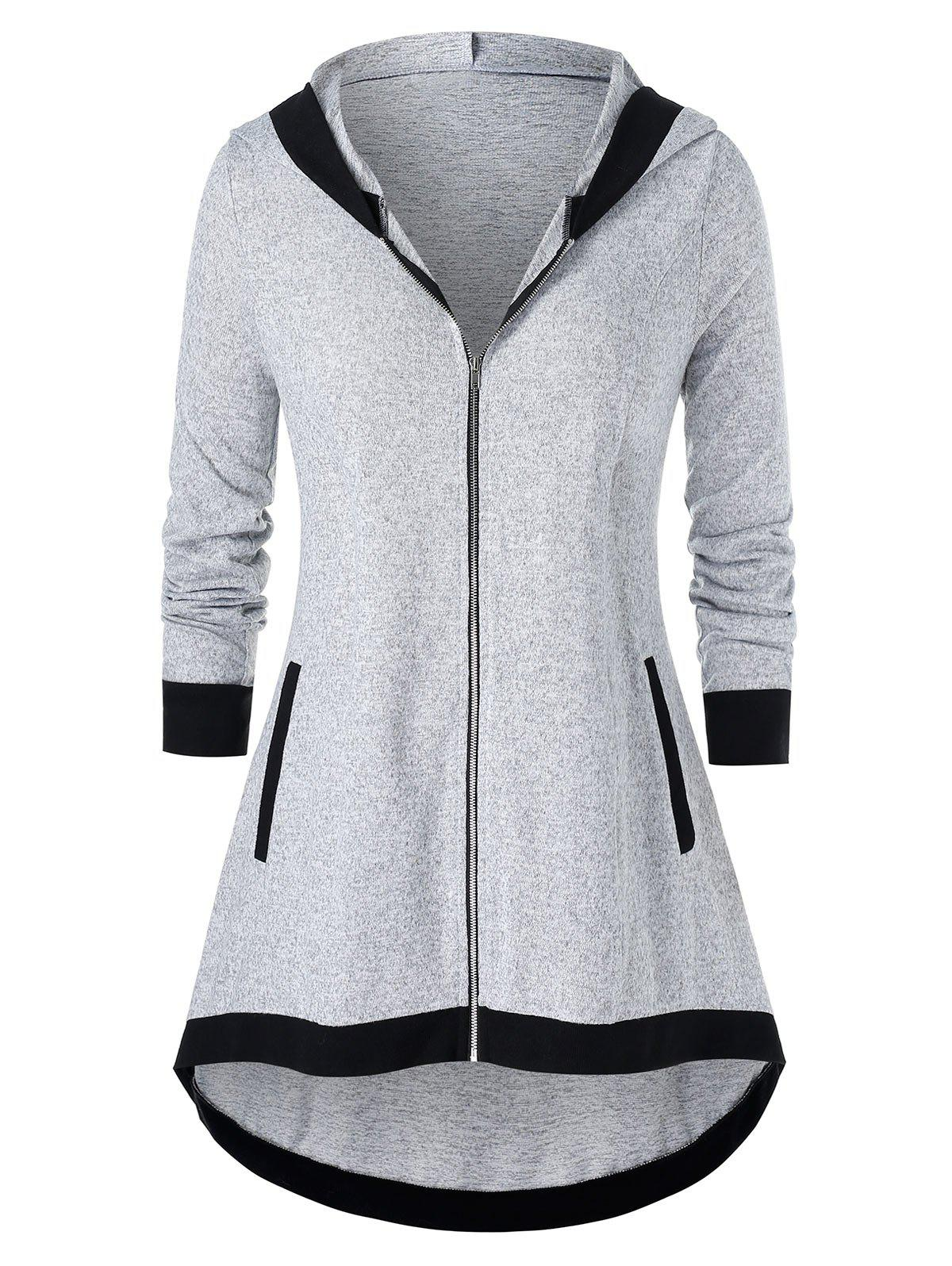 Affordable Plus Size Tunic Hooded Two Tone Coat