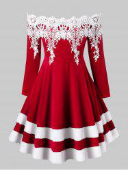 Plus Size Off Shoulder Contrast Lace Velvet Christmas Dress -